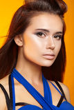 Beauty portrait of attractive girl with clean skin and makeup Royalty Free Stock Photos