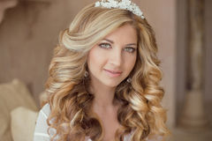 Beauty portrait of attractive smiling girl bride with long curly Royalty Free Stock Photo