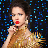 Beauty Portrait of a beautiful fashion girl model with red lips Stock Photos