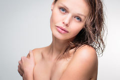Beauty portrait of a beautiful female model Stock Photos