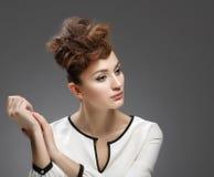 Beauty Portrait. Beautiful girl in white dress Royalty Free Stock Image