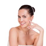 Beauty Portrait. Beautiful Spa Woman Touching her Face Stock Photos