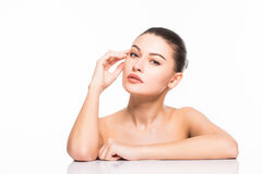 Free Beauty Portrait. Beautiful Spa Woman Touching Her Face. Perfect Fresh Skin. Isolated On White Background. Pure Beauty Stock Images - 87455834