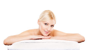 Beauty Portrait. Beautiful Spa Woman on white Stock Photo