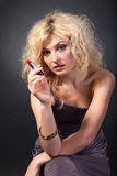 Beauty Portrait. Beautiful woman on a black background Stock Photography