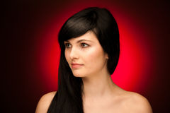 Beauty portrait of beautiful woman with black hair and blue eyes Royalty Free Stock Images