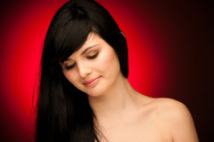 Beauty portrait of beautiful woman with black hair and blue eyes Royalty Free Stock Photo