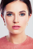 Beauty Portrait of a Beautiful Woman with Fashion Makeup Royalty Free Stock Photo