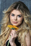 Beauty Portrait. Beautiful Woman with flower. Royalty Free Stock Photo