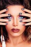 Beauty Portrait of Beautiful Woman Model with Makeup. Face Closeup Royalty Free Stock Photos