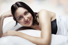 Beauty portrait of beautiful woman. Morning Royalty Free Stock Photos