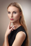 Beauty Portrait. Beautiful Woman Touching her Face. Perfect Fres Royalty Free Stock Photo