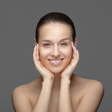 Beauty Portrait. Beautiful Woman Touching her Face royalty free stock photo