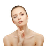 Beauty Portrait. Beautiful Woman Touching her Face. Stock Image