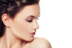Beauty Portrait of Beautiful Woman. Young Face, Perfect Skin. Profile Royalty Free Stock Photos