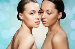Beauty portrait of 2 beautiful women Stock Photos