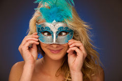 Beauty portrait of Beautiful young blonde woman with venice carn Stock Photography