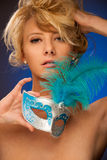 Beauty portrait of Beautiful young blonde woman with venice carn Royalty Free Stock Images