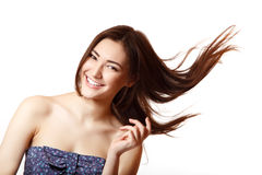 Beauty portrait of beautiful young smiling woman happy ecstatic Royalty Free Stock Images