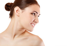 Beauty portrait of beautiful young woman face in profile Stock Photo