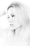 Beauty portrait of blond girl in B&W Royalty Free Stock Image