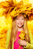 Beauty portrait of blond girl in maple crown Stock Photo