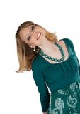 Beauty portrait of a blonde in a green dress Royalty Free Stock Photography