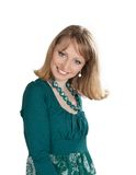 Beauty portrait of a blonde in a green dress Royalty Free Stock Images