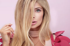 Beauty portrait of blonde natural woman. Royalty Free Stock Image