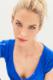 Beauty portrait of a blonde woman with blue eyes Stock Photos