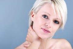 Beauty portrait of a blonde woman stock images