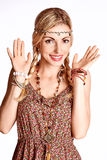 Beauty portrait of boho slim joyful woman surprised smiling Stock Photo