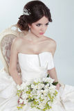 Beauty Portrait of bride wearing in wedding dress with voluminou Stock Photo