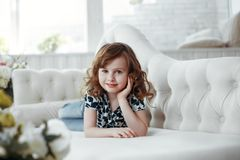 Beauty portrait of brown hair and eyes girl  studio portrait royalty free stock photography