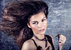 Beauty portrait of brunette woman. Stock Photo