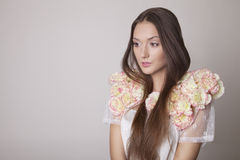 Beauty portrait of brunette young girl , spring. Royalty Free Stock Images