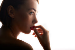 Beauty portrait of caucasian woman with red lips Stock Images
