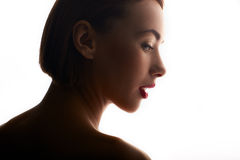 Beauty portrait of caucasian woman with red lips Stock Image