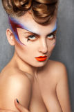 Beauty portrait of charming caucasian woman with make up Stock Photos