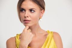 Beauty portrait of a charming fashion woman Stock Photos