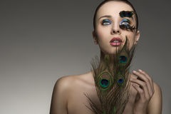 Beauty portrait with colored feathers Royalty Free Stock Photography