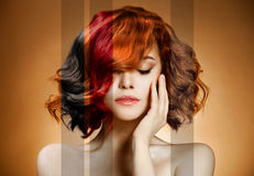 Beauty Portrait. Concept Coloring Hair. Beauty Portrait of Young Woman. Concept Coloring Hair stock image