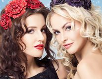 Beauty portrait of couple of attractive blond and brunette girls Royalty Free Stock Image