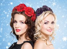 Beauty portrait of couple of attractive blond and brunette girls Royalty Free Stock Photography
