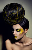 Beauty portrait with creative hairstyle. Beauty portrait with creative makeup hairstyle royalty free stock photo