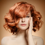 Beauty Portrait. Curly Hair royalty free stock photo