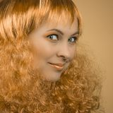 Beauty portrait with curly hair Stock Image