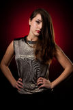 Beauty portrait of a cute caucasian woman over red background Royalty Free Stock Image