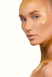 Beauty portrait of cute lovely young woman. With sparkles on her face on white bakground Royalty Free Stock Photography
