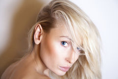 Beauty portrait of delicate blonde woman. Royalty Free Stock Photos